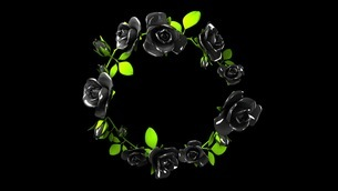 Black roses frame on black text spaceのイラスト素材 [FYI03426778]