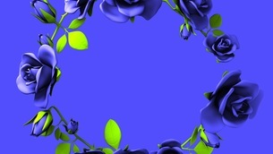 Blue roses frame on black text spaceのイラスト素材 [FYI03426793]