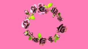 Pink Roses Frame On Pink Text Spaceのイラスト素材 [FYI03426802]
