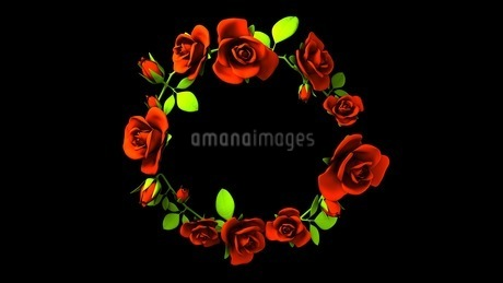 Red Roses Frame On Black Text Spaceのイラスト素材 [FYI03426812]