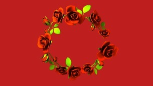 Red Roses Frame On Red Text Spaceのイラスト素材 [FYI03426816]