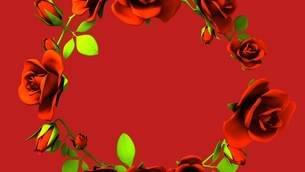 Red Roses Frame On Red Text Spaceのイラスト素材 [FYI03426817]
