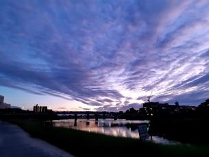 夕方の河川敷の写真素材 [FYI03427074]