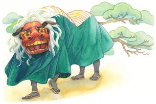 日本の年中行事イラスト:1月/獅子舞と松のイラスト素材 [FYI03427218]