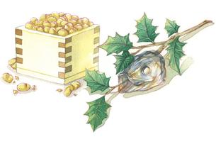 日本の年中行事イラスト:2月/升豆と柊鰯のイラスト素材 [FYI03427219]