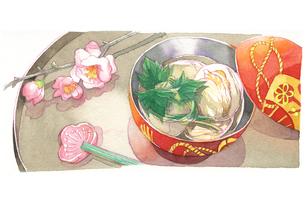 日本の年中行事イラスト:3月/蛤のお吸い物と桃の花のイラスト素材 [FYI03427220]
