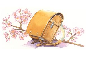 日本の年中行事イラスト:4月/ランドセルと桜の花のイラスト素材 [FYI03427221]