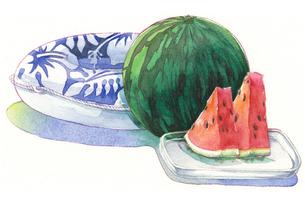 日本の年中行事イラスト:7月/すいかと浮き輪のイラスト素材 [FYI03427224]