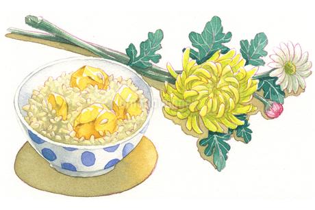 日本の年中行事イラスト:9月/栗ご飯と菊の花のイラスト素材 [FYI03427226]