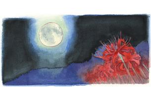 日本の年中行事イラスト:10月/満月と彼岸花のイラスト素材 [FYI03427227]