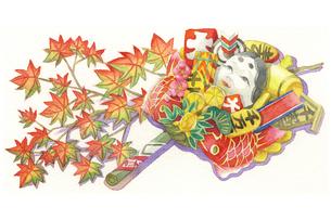 日本の年中行事イラスト:11月/熊手と紅葉のイラスト素材 [FYI03427228]