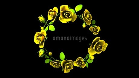 Yellow Roses Frame On Black Text Spaceのイラスト素材 [FYI03427591]
