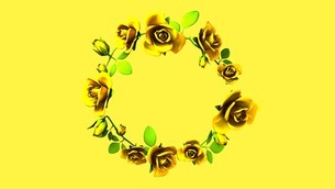 Yellow Roses Frame On yellow Text Spaceのイラスト素材 [FYI03427599]