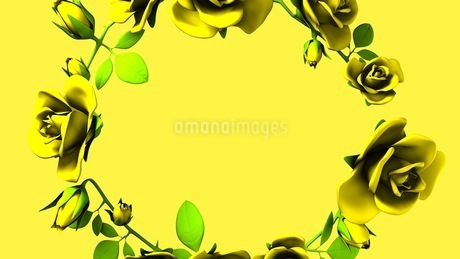 Yellow Roses Frame On yellow Text Spaceのイラスト素材 [FYI03427602]