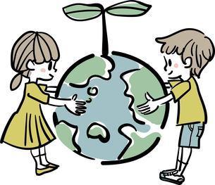 地球と子供のエコロジーイメージイラストの写真素材 [FYI03428063]