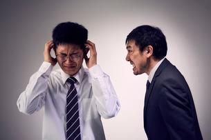 大声で説教を受け頭を抱える男性社員の写真素材 [FYI03428115]