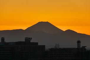 夕映えの街と富士山の写真素材 [FYI03428467]