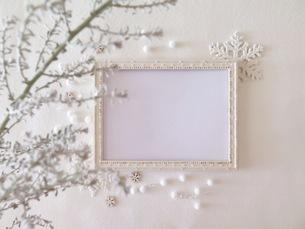 白いフォトフレームとグリーンの写真素材 [FYI03428890]