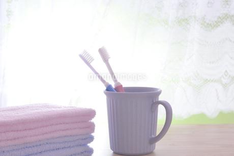 朝イメージの歯ブラシとタオルの写真素材 [FYI03429029]