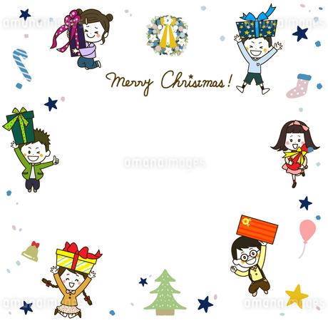 クリスマス 元気なこどもたちのフレーム イラストのイラスト素材 [FYI03429151]