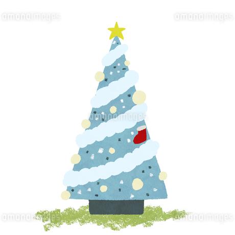 手描き風 クリスマスツリー 背景白のイラスト素材 [FYI03429153]