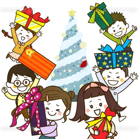 クリスマスツリー プレゼントを見せるこどもたち イラストのイラスト素材 [FYI03429157]