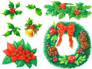 クリスマスの植物セットのイラスト素材 [FYI03431037]