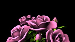 Pink Roses Bouquet On Black Text Spaceのイラスト素材 [FYI03431101]