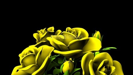 Yellow Roses Bouquet On Black Text Spaceのイラスト素材 [FYI03431179]