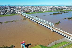 江戸川に架かる鉄橋の写真素材 [FYI03431200]
