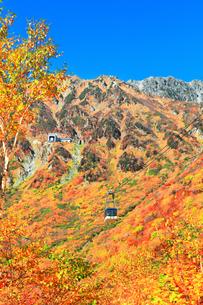 秋の立山ロープウェイ 快晴の空と紅葉の写真素材 [FYI03432264]