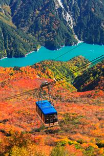 秋の立山ロープウェイと黒部ダムに遊覧船の写真素材 [FYI03432277]