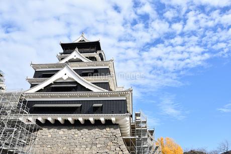復興中の熊本城と青空の写真素材 [FYI03432457]