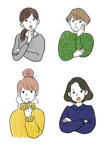 悩む女性イラストカット 4点セットのイラスト素材 [FYI03432497]