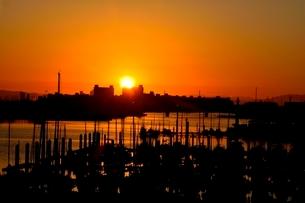 西宮ヨットハ-バ-からの初日の出の写真素材 [FYI03433936]