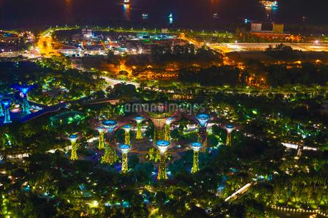 マリーナ・ベイ・サンズ展望台からの夜景(シンガポール)の写真素材 [FYI03434333]