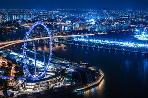 マリーナ・ベイ・サンズ展望台からの夜景(シンガポール)の写真素材 [FYI03434600]