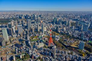 東京タワーと東京スカイツリーの空撮の写真素材 [FYI03434673]