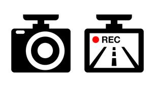 ドライブレコーダーのイラストアイコン画像素材白黒赤のイラスト素材 [FYI03436683]