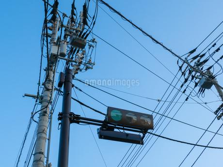 青空の下の青信号と電信柱の写真素材 [FYI03436809]