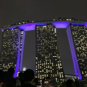 マリーナベイサンズ 夜 ライトアップ シンガポールの写真素材 [FYI03437127]
