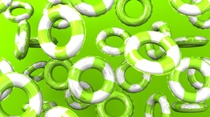 Green swim rings on green backgroundのイラスト素材 [FYI03437416]