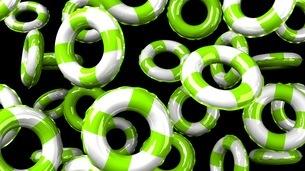 Green Swim Ring on Black Backgroundのイラスト素材 [FYI03437417]