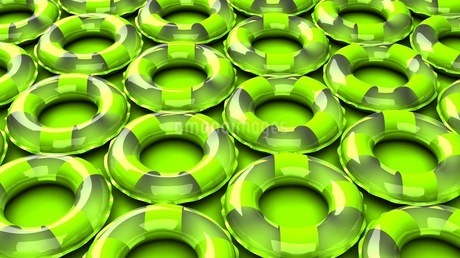 Green swim rings on green backgroundのイラスト素材 [FYI03437420]