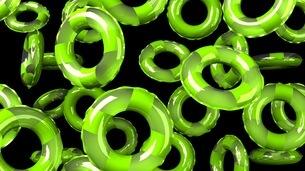 Green Swim Ring on Black Backgroundのイラスト素材 [FYI03437422]