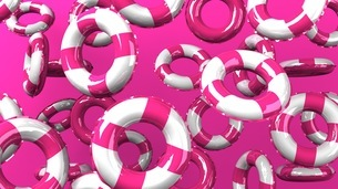 Pink swim rings on pink backgroundのイラスト素材 [FYI03437426]
