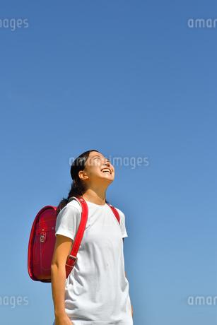 青空で見上げる小学生の女の子(ランドセル)の写真素材 [FYI03437536]
