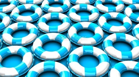 Blue swim rings on blue backgroundのイラスト素材 [FYI03438889]