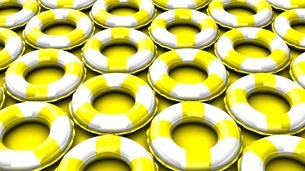 Yellow swim rings on yellow backgroundのイラスト素材 [FYI03438912]