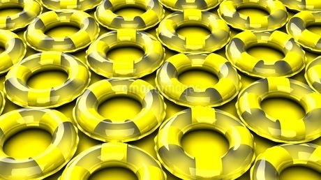 Yellow swim rings on yellow backgroundのイラスト素材 [FYI03438925]